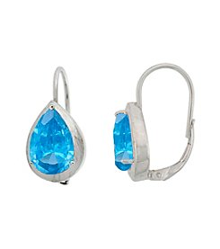 Designs by FMC Sterling Silver Plated Created Blue Spinel Boxed Earrings