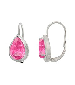 Designs by FMC Sterling Silver Plated Created Pink Sapphire Boxed Earrings