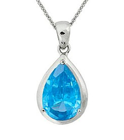 Designs by FMC Sterling Silver Plated Created Blue Spinel Boxed Pendant