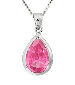 Designs by FMC Sterling Silver Plated Created Pink Sapphire Boxed Pendant