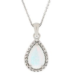 Designs by FMC Sterling Silver Plated Created Opal and Cubic Zirconia Boxed Pendant