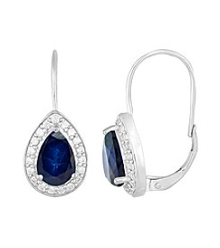 Designs by FMC Sterling Silver Plated Lab Created Blue Sapphire and Cubic Zirconia Boxed Earrings