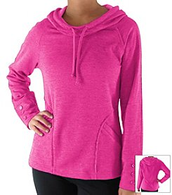Rykä® Drawstring Hooded Pullover Top with Button Detail On Sleeves