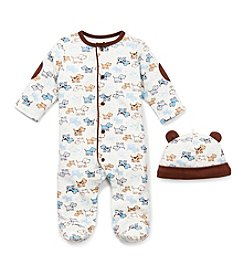 Little Me® Baby Boys' Blue/Brown Cute Puppies Footie and Hat Set