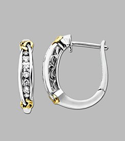 .12 ct. t.w. Diamond Hoop Earrings in Sterling Silver/14K Gold