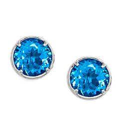 Effy® Round Blue Topaz Earrings in Sterling Silver
