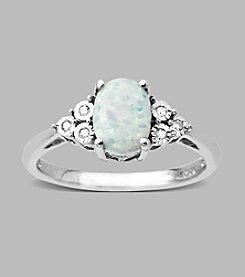 Created Opal and .03 ct. t.w. Diamond Ring in Sterling Silver