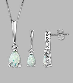 Created Opal and .02 ct. t.w. Diamond Pendant & Earrings Set in Sterling Silver