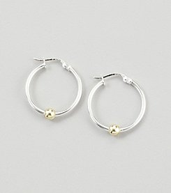Designs by FMC Sterling Silver Hoop Earrings with 18K Gold Over Sterling Silver Bead