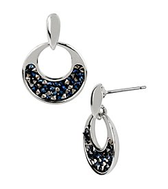 Kenneth Cole® Blue/Black Diamond Faceted Bead Round Drop Earrings