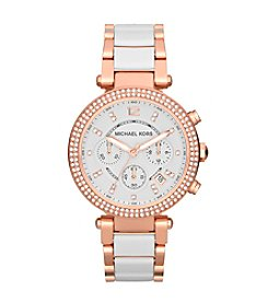 Michael Kors® Mid-Size White Acetate/Rose Goldtone Stainless Steel Parker Chronograph Glitz Watch