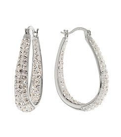 Sterling Silver Crystal Hoop Earrings