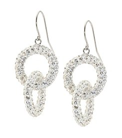 Sterling Silver Interlock Crystal Drop Earrings