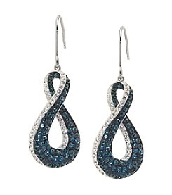 Sterling Silver Blue and White Crystal Figure 8 Drop Earrings