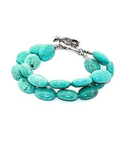 Sterling Silver Double Row Turquoise Bracelet