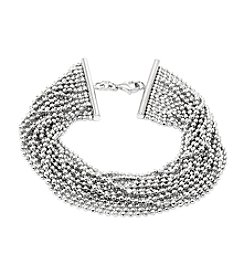 Sterling Silver Multi Row Diamond Cut Bead Bracelet
