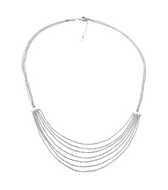 Sterling Silver Multi Row Diamond Cut Bead Necklace