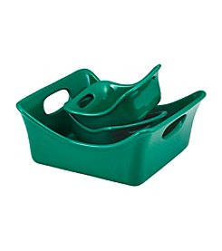Rachael Ray® Stoneware 3-pc. Dark Green Square Baker and Au Gratin Bubble & Brown™ Set