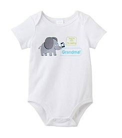 Cuddle Bear® Baby White Elephant Texting Grandma Bodysuit