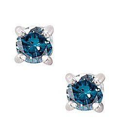 Designs by FMC Sterling Silver 0.5 ct. t.w. Blue Diamond Stud Earrings Boxed