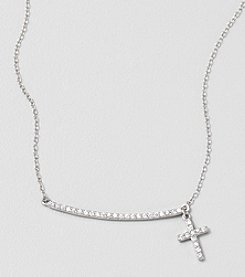 Designs by FMC Sterling Silver And Cubic Zirconia Cross Charm Necklace