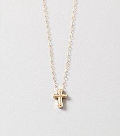 10K Yellow Gold Tiny Cross Pendant Necklace