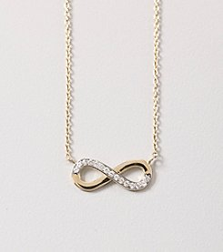 14K Yellow Gold Cubic Zirconia Infinity Heart Pendant Necklace