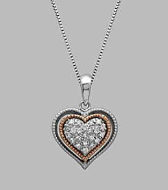 0.10 ct. t.w. Diamond Heart Pendant Necklace in Sterling Silver and 14K Rose Gold