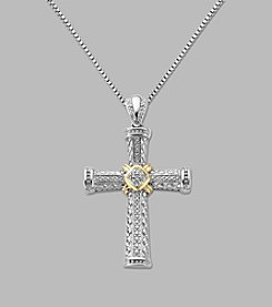 Diamond Cross Pendant Necklace in Sterling Silver and 14K Yellow Gold