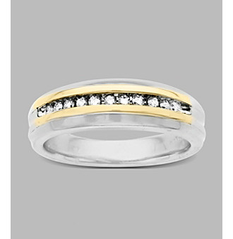 0.25 ct. t.w. Diamond Men's Ring in Sterling Silver and 14K Yellow Gold