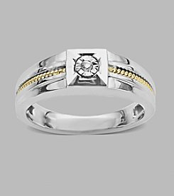 0.03 ct. t.w. Diamond Men's Ring in Sterling Silver and 14K Yellow Gold