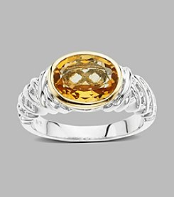 Bezel-Set Citrine Ring in Sterling Silver and 14K Yellow Gold