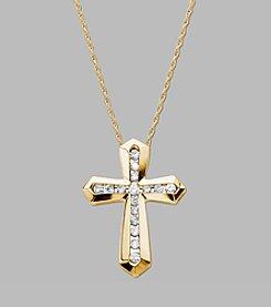 0.20 ct. t.w. Diamond Cross Pendant Necklace in 10K Yellow Gold