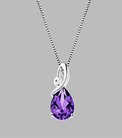Amethyst and White Topaz Pendant Necklace in Sterling Silver