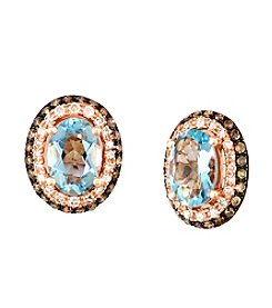 Effy® Aquamarine & 0.37 ct. t.w. Diamond Earrings in 14K Rose Gold