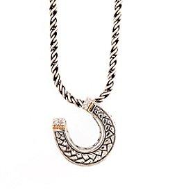 Effy® 0.02 ct. t.w. Diamond Horseshoe Pendant in Sterling Silver/18K Gold