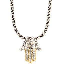 Effy® 0.08 ct. t.w. Diamond Hamsa Pendant in Sterling Silver/18K Gold