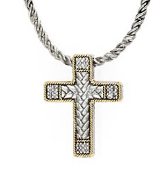 Effy® 0.07 ct. t.w. Diamond Cross Pendant in Sterling Silver/18K Gold