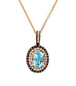 Effy® Aqua & 0.27 ct. t.w. Diamond Pendant in 14K Rose Gold
