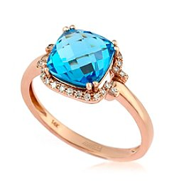 Effy® Blue Topaz and 0.09 ct. t.w. Diamond Ring in 14K Rose Gold