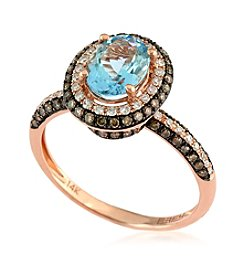 Effy® 0.50 ct. t.w. Diamond Ring with Aquamarine in 14K Rose Gold