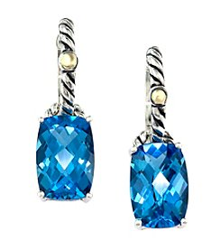 Effy® Blue Topaz Earrings in Sterling Silver and 18K Gold