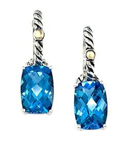 Effy® Blue Topaz Earrings in Sterling Silver and 18K Gold
