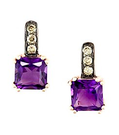 Effy® Amethyst and 0.13 ct. t.w. Diamond Earrings in 14K Rose Gold