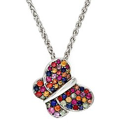 Effy® Multicolor Sapphire Butterfly Pendant in Sterling Silver
