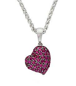 Effy® Ruby Heart Pendant in Sterling Silver