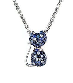 Effy® Sapphire Cat Pendant Necklace in Sterling Silver