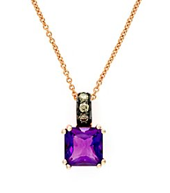 Effy® Amethyst and 0.08 ct. t.w. Diamond Pendant in 14K Rose Gold