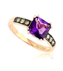 Effy® Amethyst and .15 ct. t.w. Diamond Ring in 14K Rose Gold