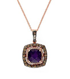 Effy® Amethyst and .56 ct. t.w. Diamond Pendant in 14K Rose Gold